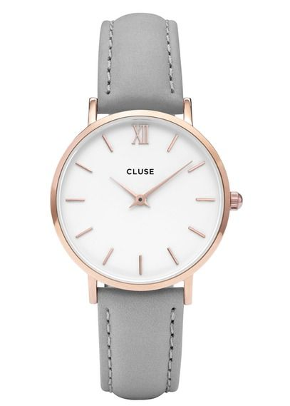 Montre Minuit en cuir Gris by CLUSE
