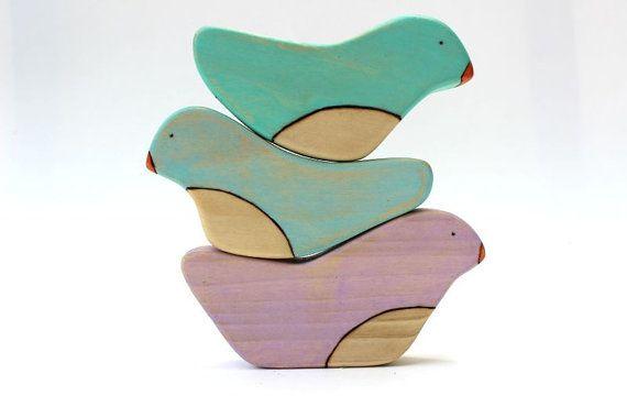 wooden stacking toy, bird stacking toys, balancing toys, toddler baby toys, waldorf stacker