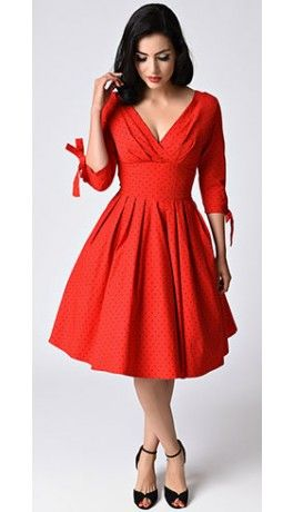 Unique Vintage 1950s Style Red & Black Pin Dot Sleeved Diana Swing Dress