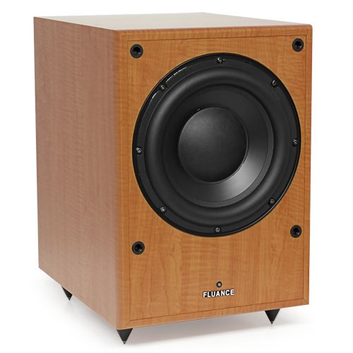 Image of Fluance DB150 10 inch 150 Watt Low Frequency Powered Subwoofer-Natural Beech