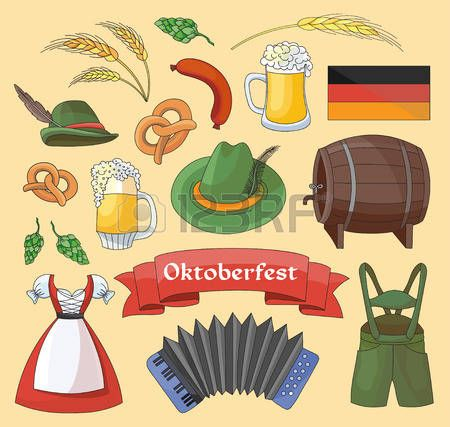 Alemania elementos de la colección. el festival Oktoberfest. Ilustración del vector, EPS 10