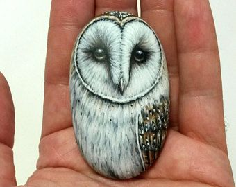 Hand-Painted Barn Owl on a Smooth Sea Pebble! Acrylic Miniature Painting on Small Stone, finished with matt varnish. Original owl painting