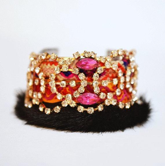 friendship cuff bracelet faux fur boho romantic Russe