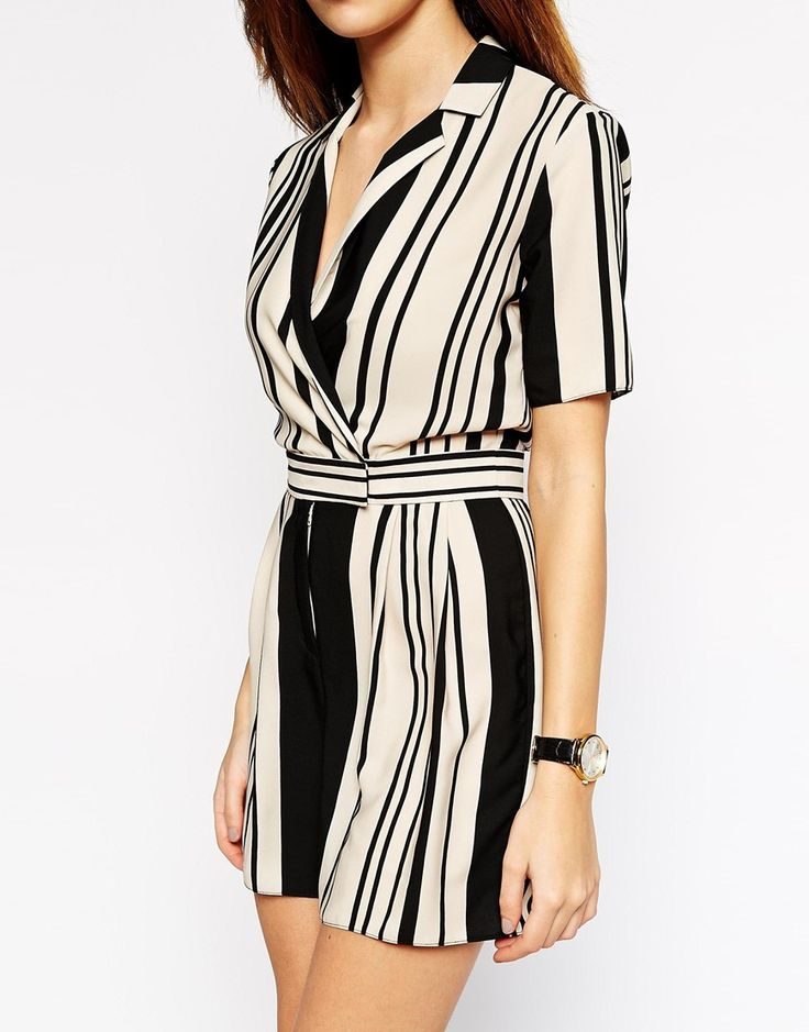 Image 3 ofASOS PETITE Playsuit in Stripe with Wrap Front