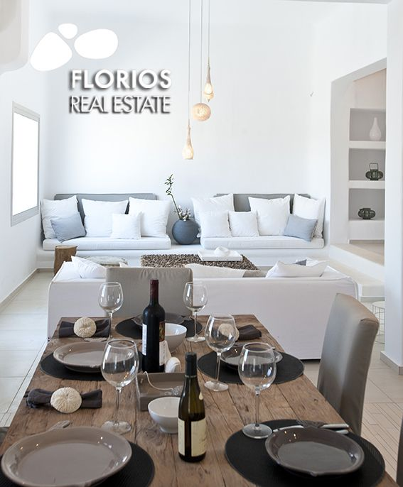 """This modern yet very """"Mykonian"""" villa is a three-floor structure with a spacious living room/dining room and a fully-equipped kitchen on the ground level and three bedrooms on the lower level. Villa for Sale on Mykonos island Greece. FL1486 http://www.florios.gr/en/mykonos-property/9.html"""