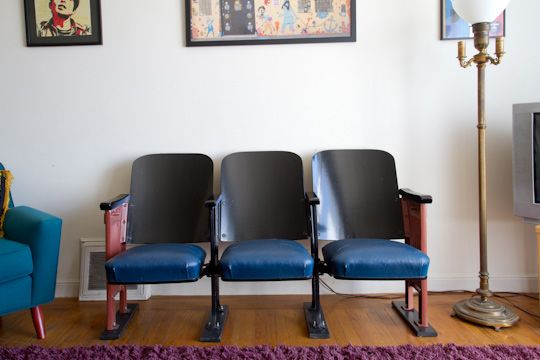 I loveloveLOVE the idea of having old theater/stadium seats. These were either really well taken care of or wonderfully re-upholstered. Either way, I'm a infatuated.