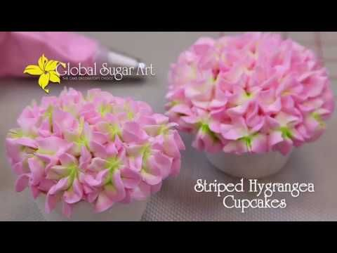 """http://globalsugarart.com See how easy it is to pipe two tone hydrangeas in this """"Fast & Fabulous"""" video on making striped hydrangea cupcakes using Tip 2D. h..."""