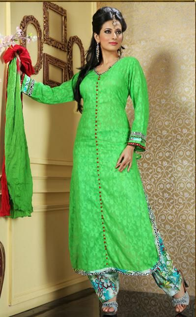 $81.96 Green Cotton Salwar Kameez 26840