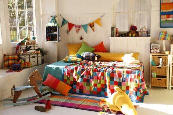 Kids room with handwoven fabric by origo korea