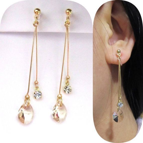 Light Silk Swarovski Rhinestone Clip On Earrings 11e Dangle Drop Non Pierced Bridal