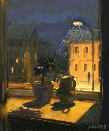 ELENA YUSHINA Night Rain …..CAN SIT HERE SAVORING OUR COFFEE AND WATCH THE PASSER-BYS GET WET……WE'RE SNUG & OH-SO-DRY…………ccp