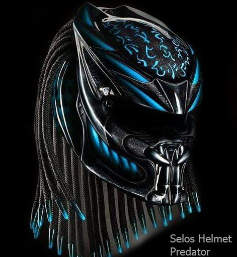 Color : Black With Blue We use full helmet DOT as its base and Resin Catalis great Fiber for Predator parts. Helmet come with Red Tri-Lamp (LED) with on-off switch. Size : S - M - L - XL   »To the manufacturing process Predator Helmets, finished Two weekly from the time of booking. (This is the estimate / estimate, so it is possible the process could be faster or slower)  »If the product ordered is finished, the goods will be shipped as soon as possible according to the address buyer. »T...