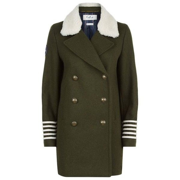 TOMMYxGIGI Shearling Collar Pea Coat ($550) ❤ liked on Polyvore featuring outerwear, coats, brown pea coat, double breasted military coat, military style coat, double breasted peacoat and military pea coat