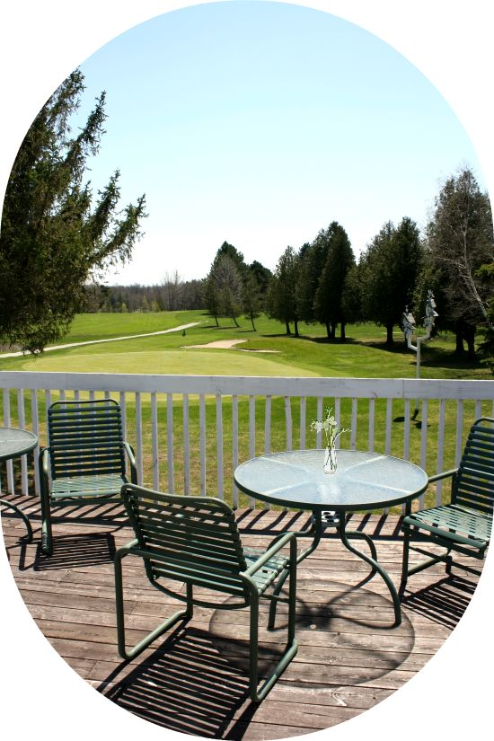 Our Patio's OPEN! Hooray!  Here's today's sunny afternoon view from our Cafe & Patio Terrace, overlooking the picturesque Meadow Course. Isn't it the perfect setting for a yummy meal or nice cold beverage, from our NEW Cafe & Patio? YES!  (Or want to enjoy it for even longer? Let us host your Wedding, Birthday party, Anniversary party, Bachelor party or other fun events! It's just gorgeous!)