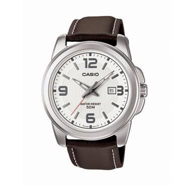 Simple Gents Casio Quartz Brown leather dress watch with white dial. Mens Watch http://www.sterns.co.za