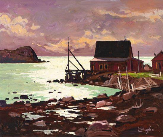 Bruno Cote - Indian Harbour Nova Scotia 30 x 36 Oil on board