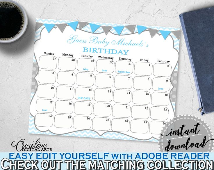 Baby Shower BIRTHDAY PREDICTION due date calendar editable with chevron blue color theme printable, instant download - cbl01 #babyshowerparty #babyshowerinvites