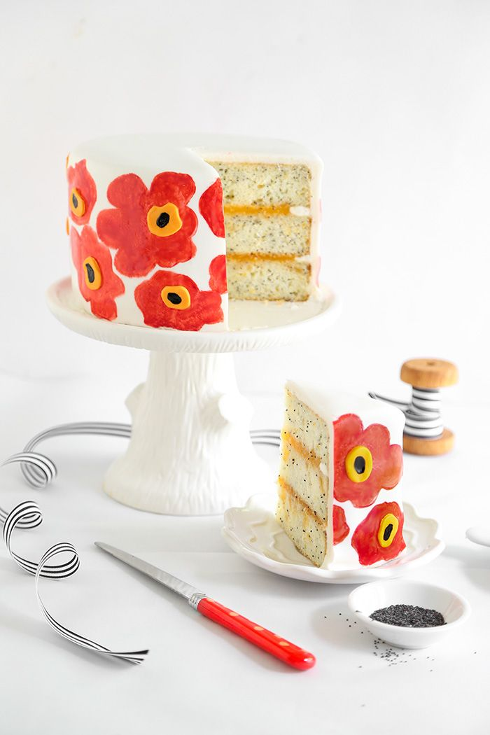 Orange Poppy Seed Marimekko Cake | Sprinkle Bakes