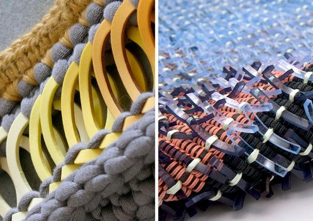 ///' #SpringSummer2013 #SS13 #Textiles #Trend #Report #Converge by #TheTrendBoutique Left: Knitted Design by Lucy Faulke. Right: Woven Design by Jane Evans