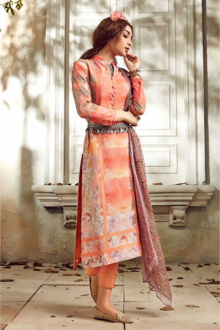 Peach Colour Linen Fabric Party Wear Unstitched Pakistani Suit Comes With Matching Bottom and Dupatta Fabric. This Suit Is Crafted With Digital Prints. This Suit Comes As a Unstitched Which Can Be Sti...