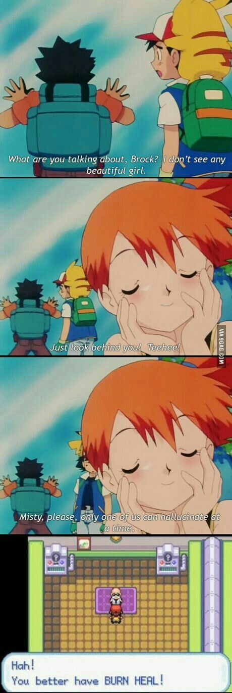 Ash, Misty, Brock, Pikachu, hallucination, funny, text, quote, comic, burn; Pokemon