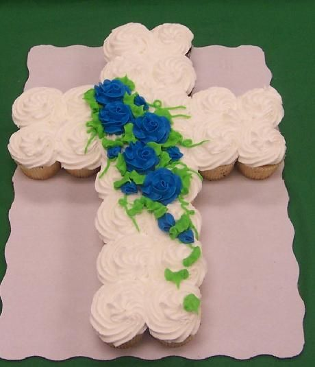 cupcake cross cupcake cake - would be great for church picnic