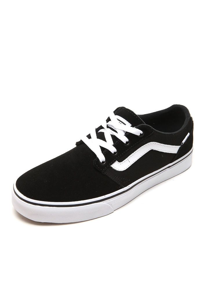 VANS Shoe Chapman Stripe Suede Canvas Black Sneaker Skate Old Skool Styling New