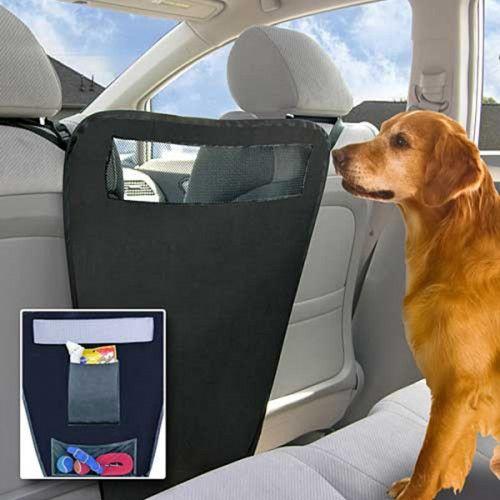 Χώρισμα με θήκες που κρατάει το σκύλο στο πίσω κάθισμα - Pet backseat barrier