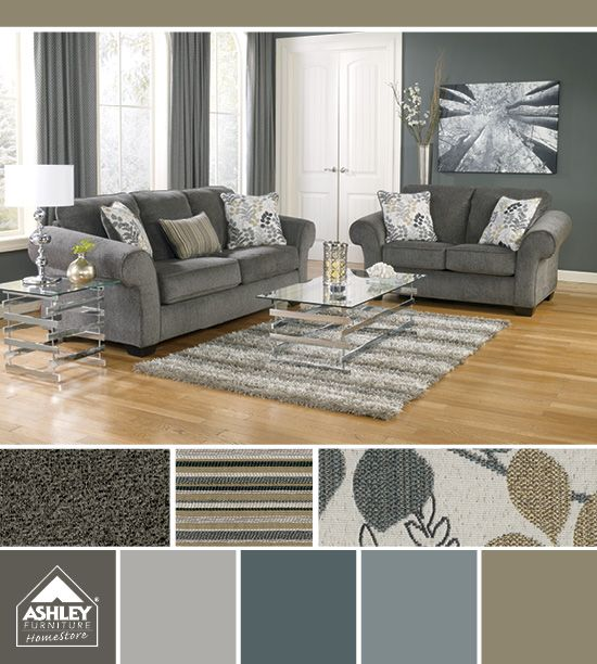 Blue Grays With A Cool Floral Print Makonnen Sofa Ashley Furniture Homestore Color