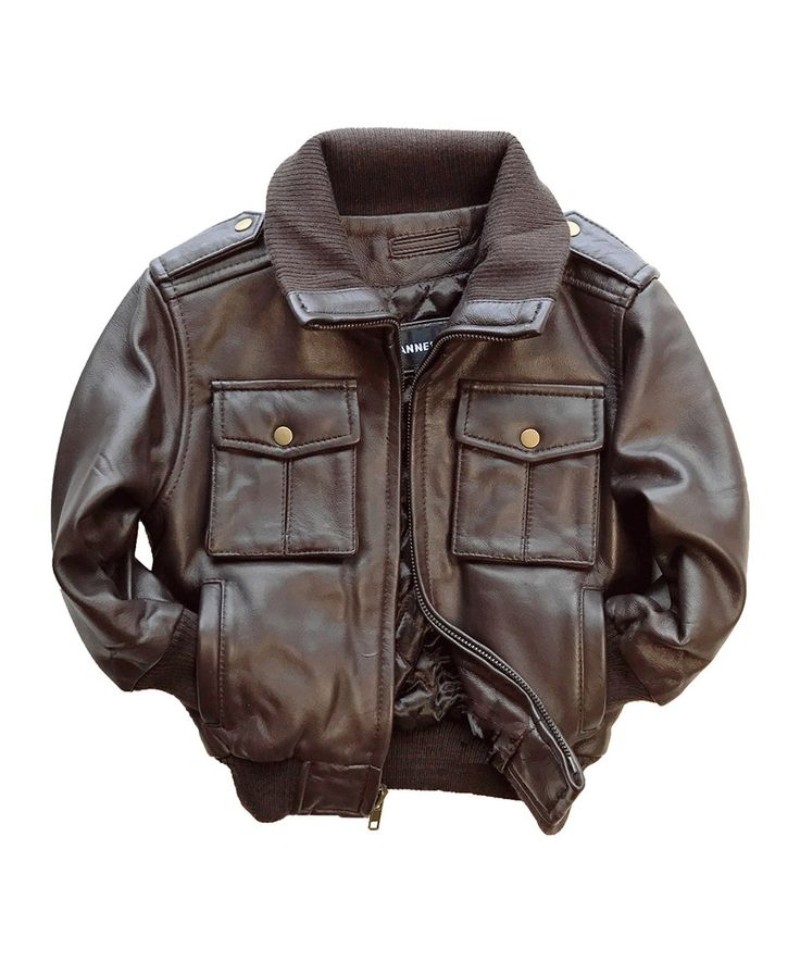 Take a look at this Brown Leather Bomber Jacket - Toddler & Boys today!
