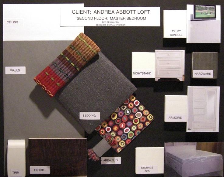 Material Sample Board For A Master Bedroom My Art Interior Design School Work Pinterest