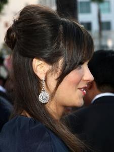 Zooey Deschanel Half Updo Side View