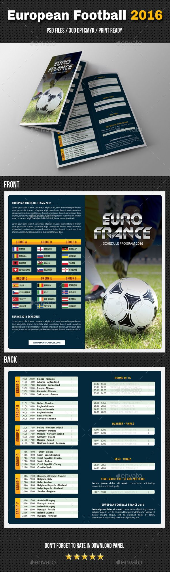 PSD European Football Schedule 2016 Bifold Brochure  Template • Only available here ➝ http://graphicriver.net/item/european-football-schedule-2016-bifold-brochure/16456050?ref=pxcr