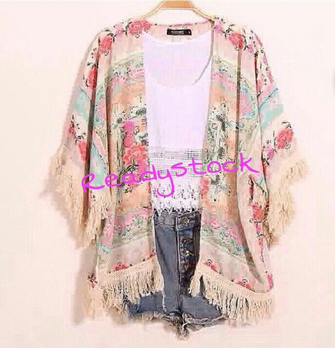 Flowery fringe outer  Fabric : cotton  Rp220