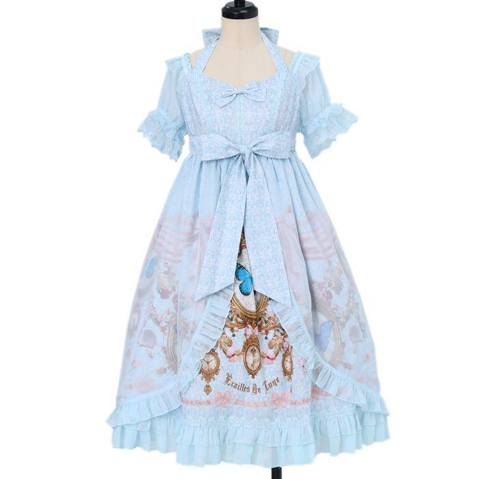 中国ゴシックロリータブランドÉcailles De LuneのBurial Of Butterfly ジャンパースカート IIです。 ゴスロリブランドにしては珍しいパステルカラー♡ 額縁、時計、カメオなどのアンティークな小物のプリントが繊細で美しく、 ワンダーウェルトのスタッフの一押しのとっても可愛いシリーズです♡