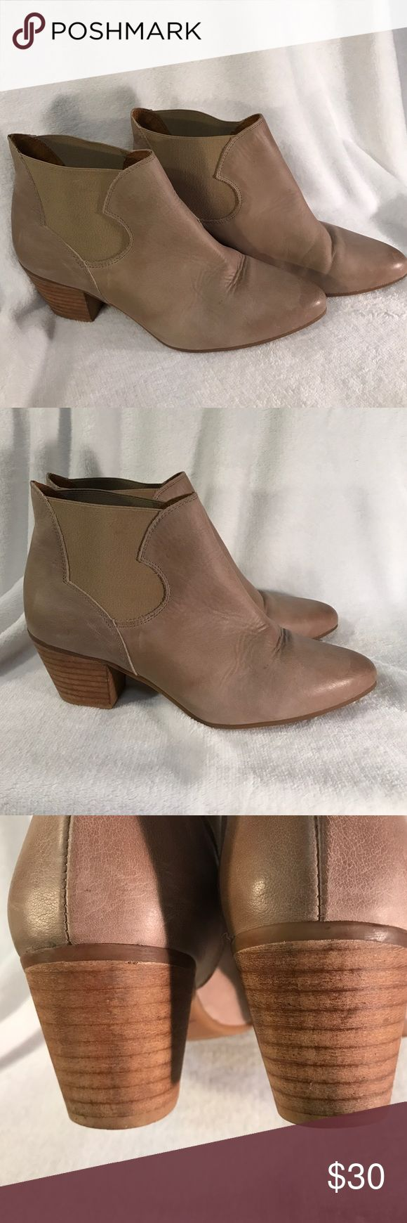 Tan or Nude Anthropologie Booties by Sixty Seven Great festival booties with a boho dress. Brand is Sixty Seven from Anthropologie. They are tan/nude and go with everything! Slip on with elastic side panels. Worn a few times and in excellent condition. Marked size 40, fit like a 9 1/2. Anthropologie Shoes Ankle Boots & Booties