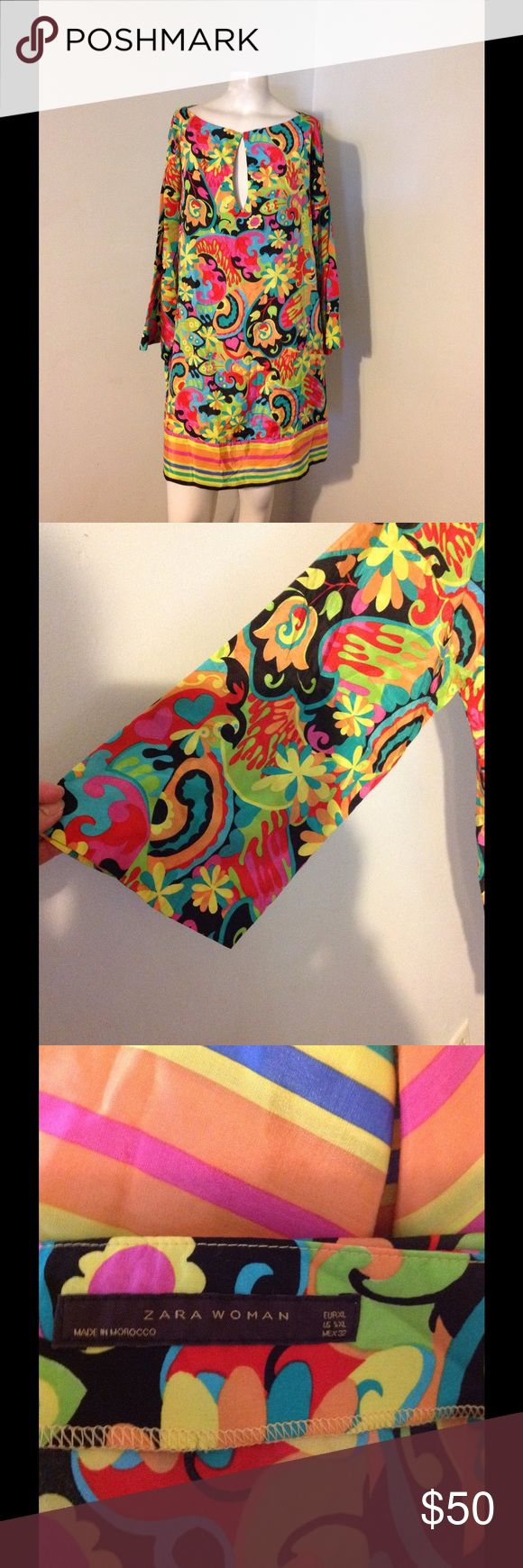 """Zara Woman Colorful Print Tunic Dress XL Very nice Zara dress. Very colorful print silk/cotton blend. Keyhole front with flared sleeves. Great condition. Chest 43"""" Hips 45"""" Length 33"""" Has side pockets Zara Dresses"""