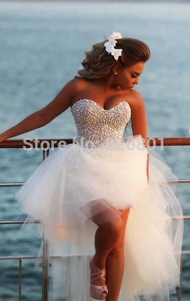 Vestido De Noiva Sexy 2014 New Unique Pearl Sweetheart White Tulle Short Front Long Back Wedding Dress Bridal Gown-in Wedding Dresses from Apparel & Accessories on Aliexpress.com | Alibaba Group