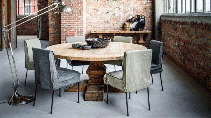 table ronde en bois, table en bois ronde, table ronde bois, table de ferme, table de ferme ancienne, table en chêne massif