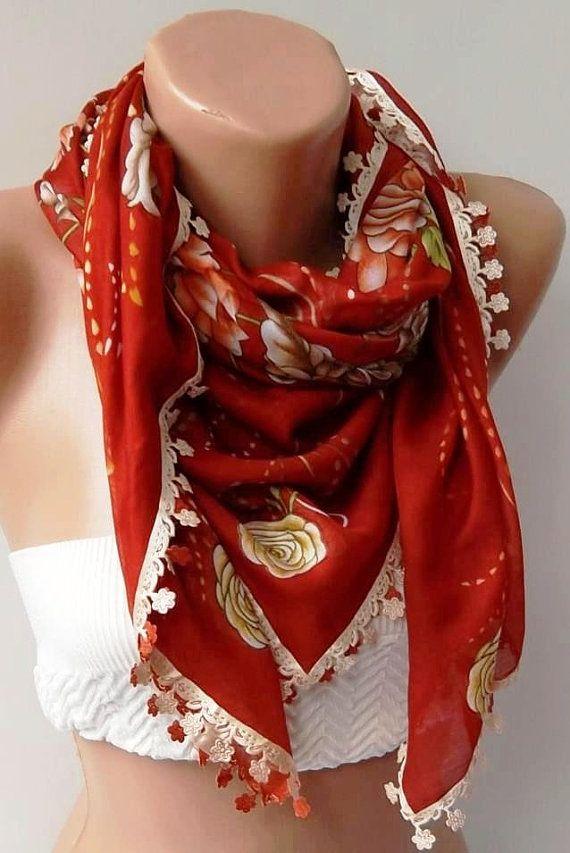 Turkish Shawl  Anatolians Scarf  with Lace Yemeni   Red by womann,