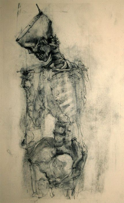 Charcoal drawing skull aRT