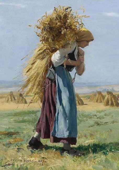 Painting by Julien Dupre, van akker naar bakker, brood nodig?