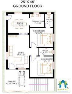 Image result for 2 BHK floor plans of 25*45