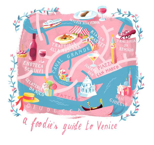 editorial illustration:  a foodie's guide to venice, italy, map by marco marella https://www.behance.net/marcomarella