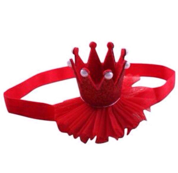Tiara Crown Headband Glittery Girl Red 1st Birthday Princess Cakesmash Christmas  | eBay