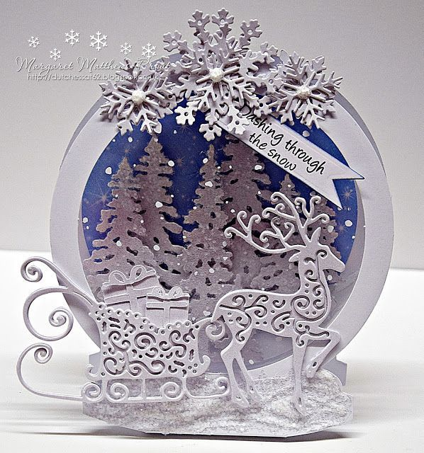 I have gone back to one of my favorite shaped cards...the snow globe.....and some of my old tattered lace dies.....  I had great fun making this card.....lots on lots of layers of die cuts, tattered l