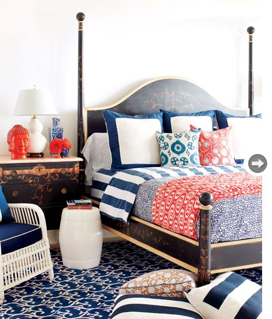 Black, white, navy and red. Patterns mixed and colors mingled.