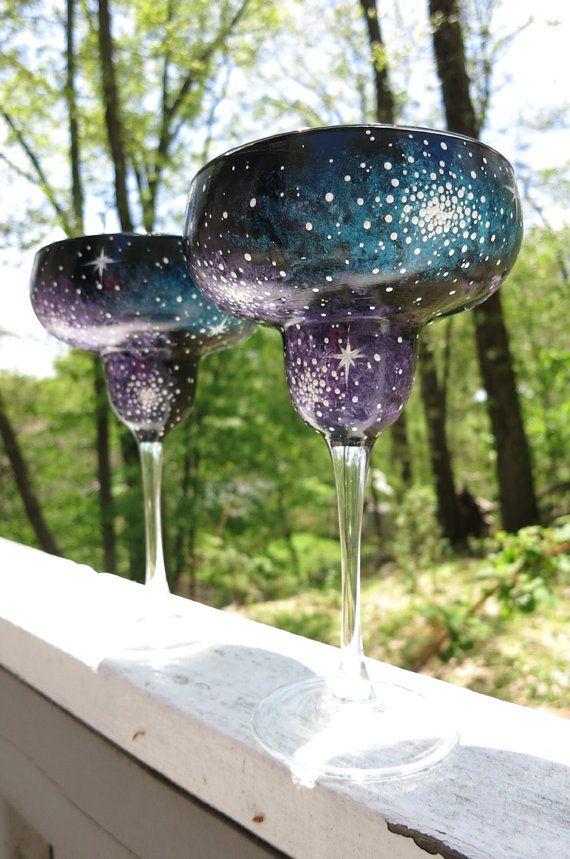 Hand painted galaxy margarita glasses (set of 2)
