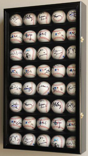 40 Baseball Display Case Cabinet Holder Wall Rack w/ UV Protection -Black by sfDisplay. $89.95. Solid hardwood cabinets of beautiful design and construction. A glass door keeps inquisitive fingers away, as well as dust! A great way to display your autographed or memorable baseballs or hockey pucks. Felt-lined background to create a stunning display. This unique cabinet holds 40 balls. Shelves have indentations to secure balls. Brass hinges and door latches. Cabinet comes...