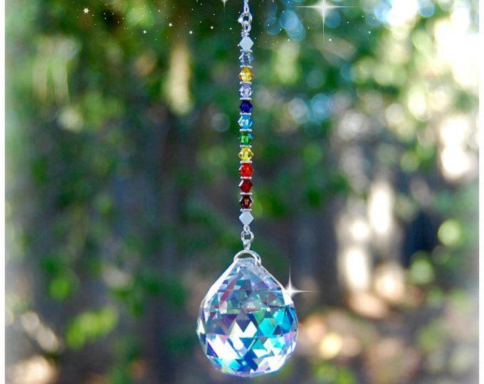 12 decoración de ventana Suncatcher cristal, espejo retrovisor coche encanto, chakra, decoración de la sala de meditación, cristal de Swarovski, prisma de 20mm
